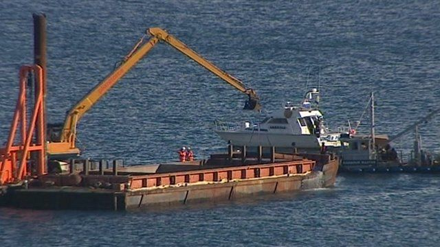 Dredging trial in Falmouth Harbour