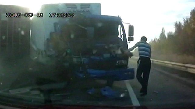 Lorry driver just after crash