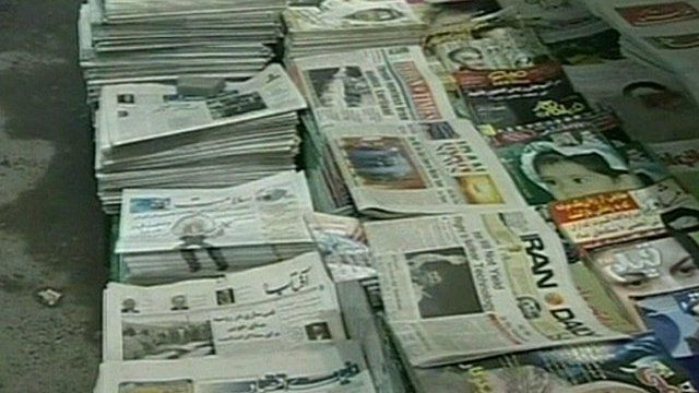 Iranian newspapers on sale