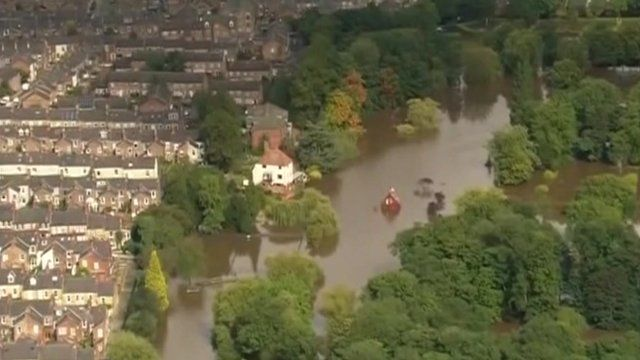 An aerial view of flooded York