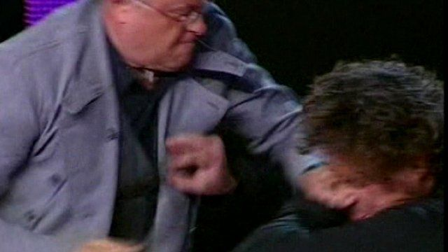 Russian billionaire Lebedev punching a fellow TV guest