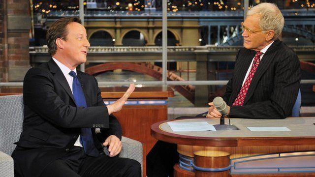 David Cameron talking to David Letterman