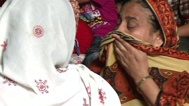 A Pakistani mother is left distraught after her Muslim policeman son was killed in the protests