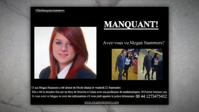 A French poster asking if people have seen Megan Stammers