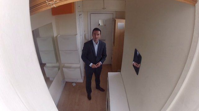 BBC London's Marc Ashdown inside one of London's smallest flats