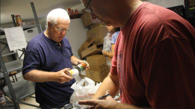 Volunteers at a Levittown food pantry