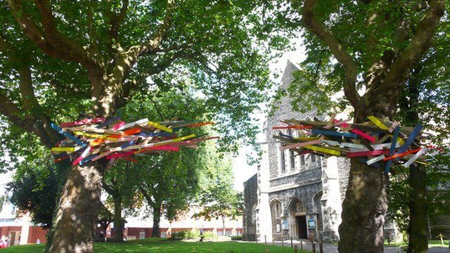 Fiona Curran's artwork at St Mary's Church in Swansea