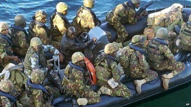 Kenyan troops preparing for the beach assault