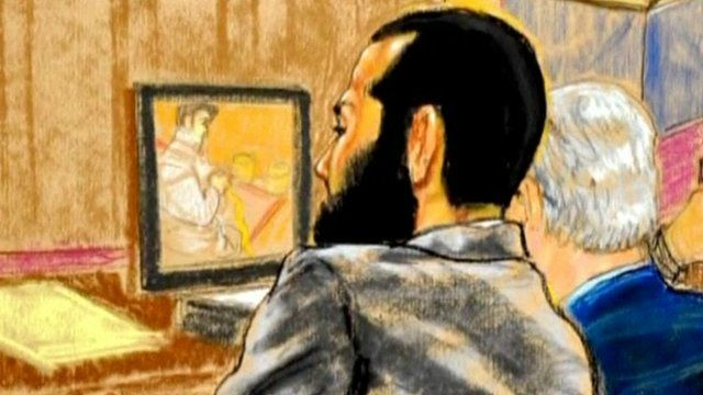 Court sketch of Omar Khadr