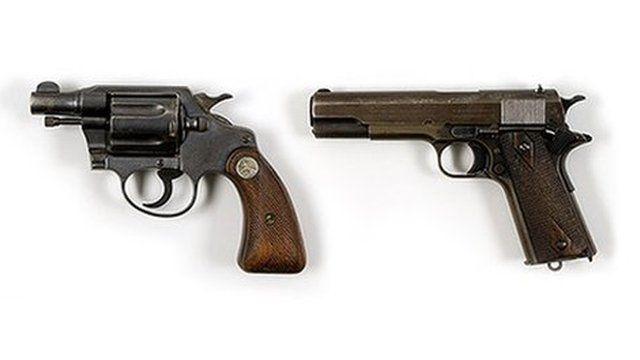 Bonnie Parker .38 Colt Detective Special revolver (L) and Clyde Barrow 1911 Army Colt .45 pistol