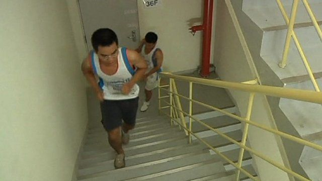 Runners on stairs