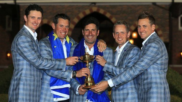 Europe's Ryder Cup team with trophy