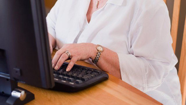 older lady using computer
