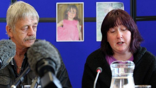 Coral Jones, accompanied by her stepfather, April's grandfather Dai Smith, speaking at a press conference