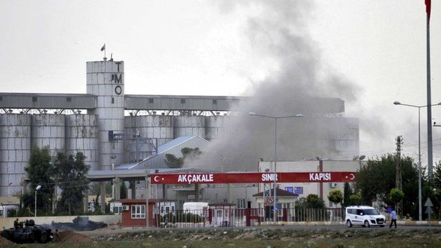 Smoke rising at the Akcakale border gate