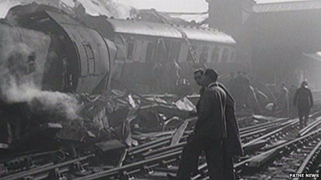 Scene of the Harrow and Wealdstone train crash in October 1952