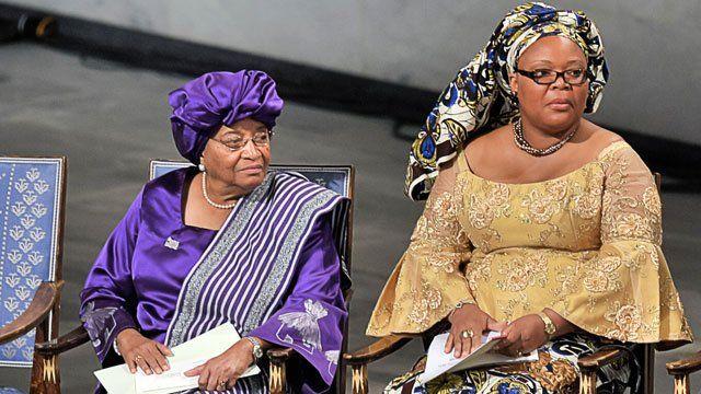 Ellen Johnson Sirleaf (right) and Leymah Gbowee