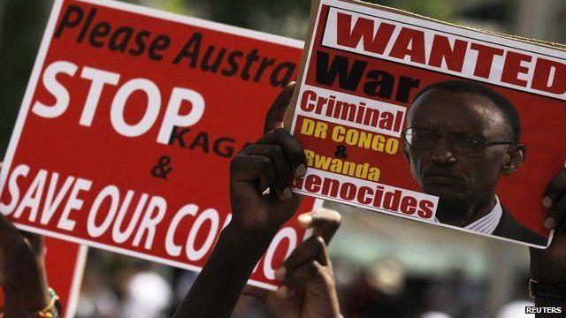 Protests against Rwanda president Paul Kagame