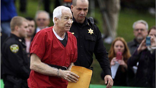 Jerry Sandusky arriving at court, 9 October 2012
