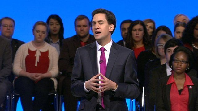 Ed Miliband speaking at Labour conference