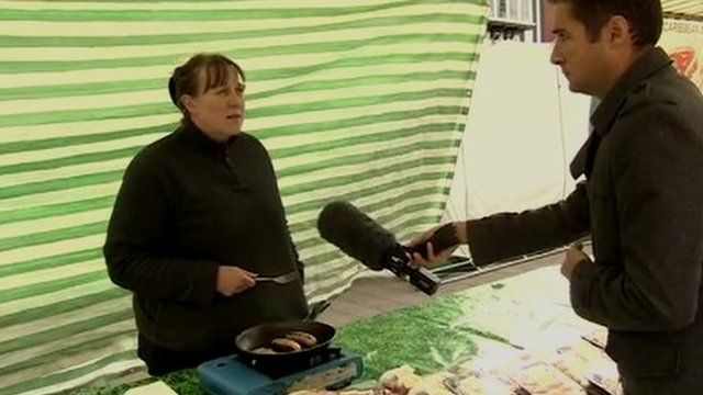 Farmer Jo Tomlinson and the BBC's Anthony Bartram
