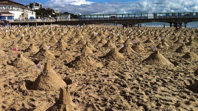 The sandcastles on Bourenmouth beach