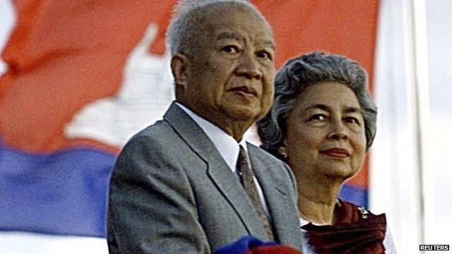 The then Cambodian King Norodom Sihanouk and Queen Monineth