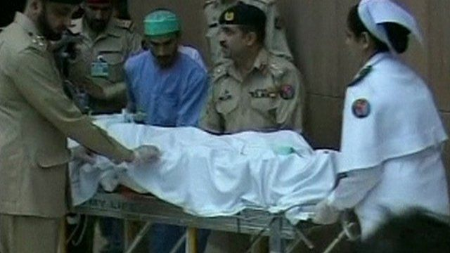 Malala wheeled out of hospital on a stretcher