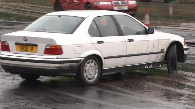 A BMW car on a skid pan