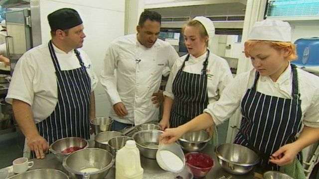 Michael Caines with academy apprentices