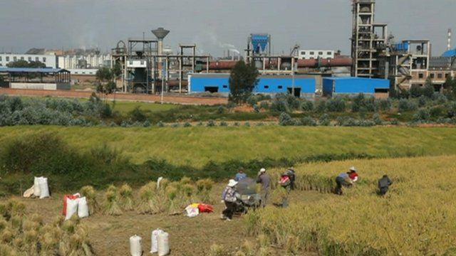 Factory and field in China