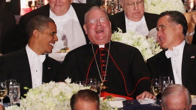 President Barack Obama, Roman Catholic Cardinal and Archbishop of New York Timothy Dolan and Republican presidential candidate Mitt Romney