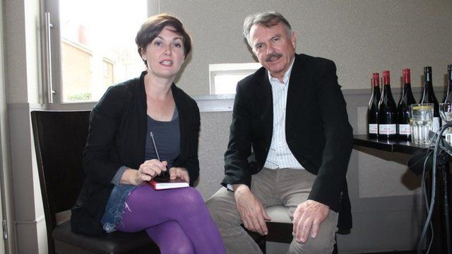 Sam Neil being interviewed by BBC's Marie-Louise Muir