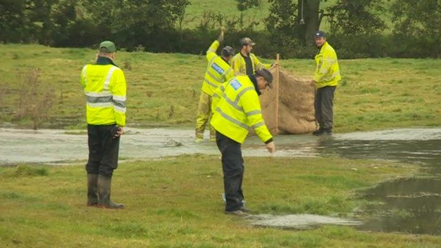 The burst pipe caused flooding in fields near a Severn Trent reservoir in Derbyshire.