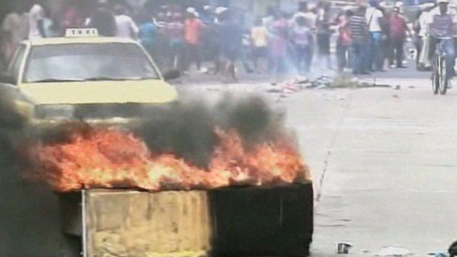 Hundreds of demonstrators in Panama burned tyres and clashed with police