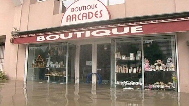 Flooded shop in Lourdes