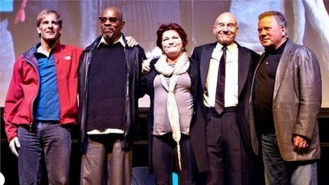 Star Trek captains in London. Photo by Theo Cohen