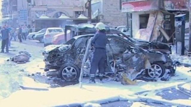 The aftermath of the car bomb