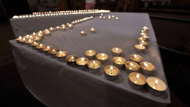 Candles lit during a special service of prayer at The Church of the Resurrection on Grand Avenue in Ely, Cardiff