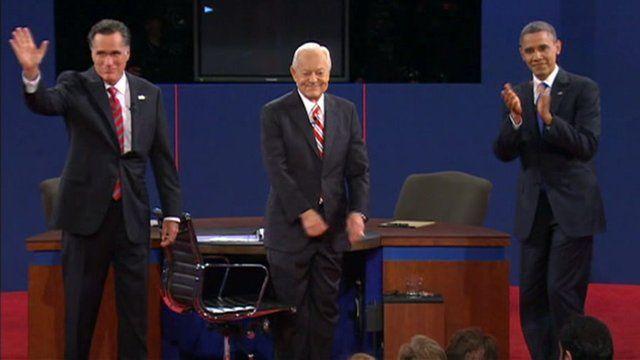 Mitt Romney, Bob Schieffer and Barack Obama