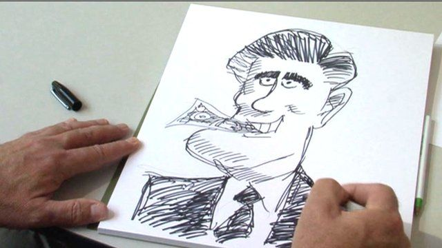 Cartoon drawing of Romney