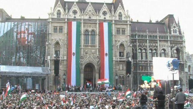 Demonstrators in Budapest