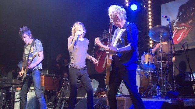 The Rolling Stones performing in Paris