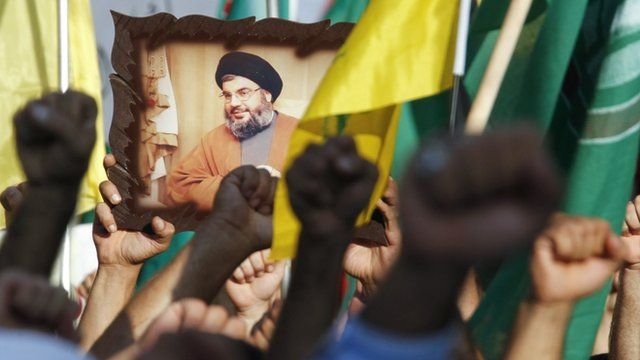 Hezbollah supporters protest in Beirut