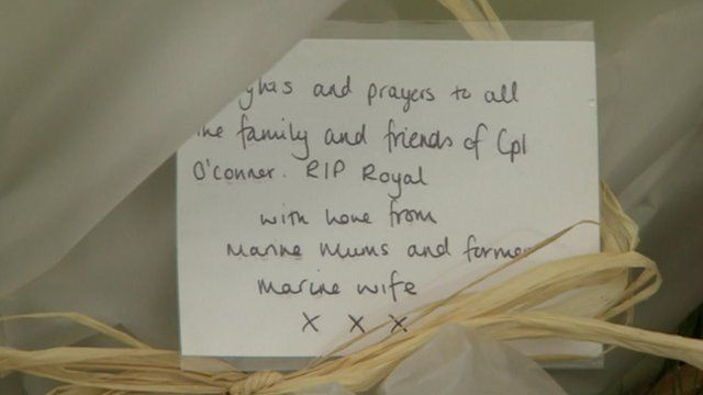 Flowers for Cpl David O'Connor, of 40 Commando in Taunton, Somerset
