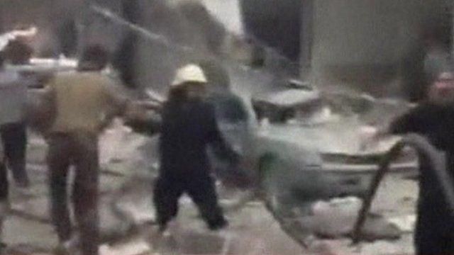 Car bomb blast scene