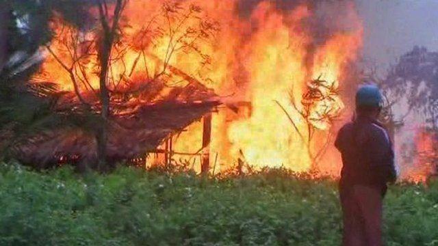Building ablaze in Burma