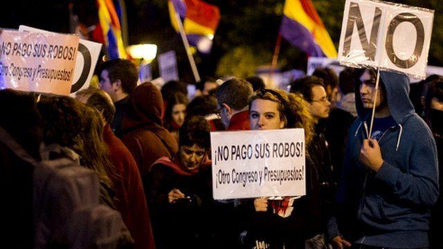 Demonstrators in Madrid in Spain
