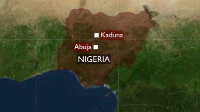 Map of Nigeria, showing Kaduna