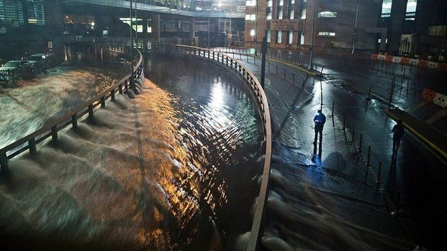 Flooding in the Carey Tunnel, New York City. 29 Oct 2012